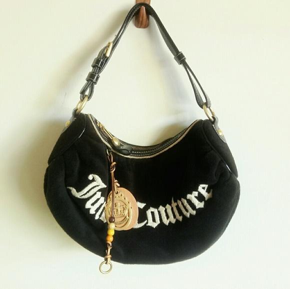 Juicy Couture Handbags - Juicy Couture black plush purse